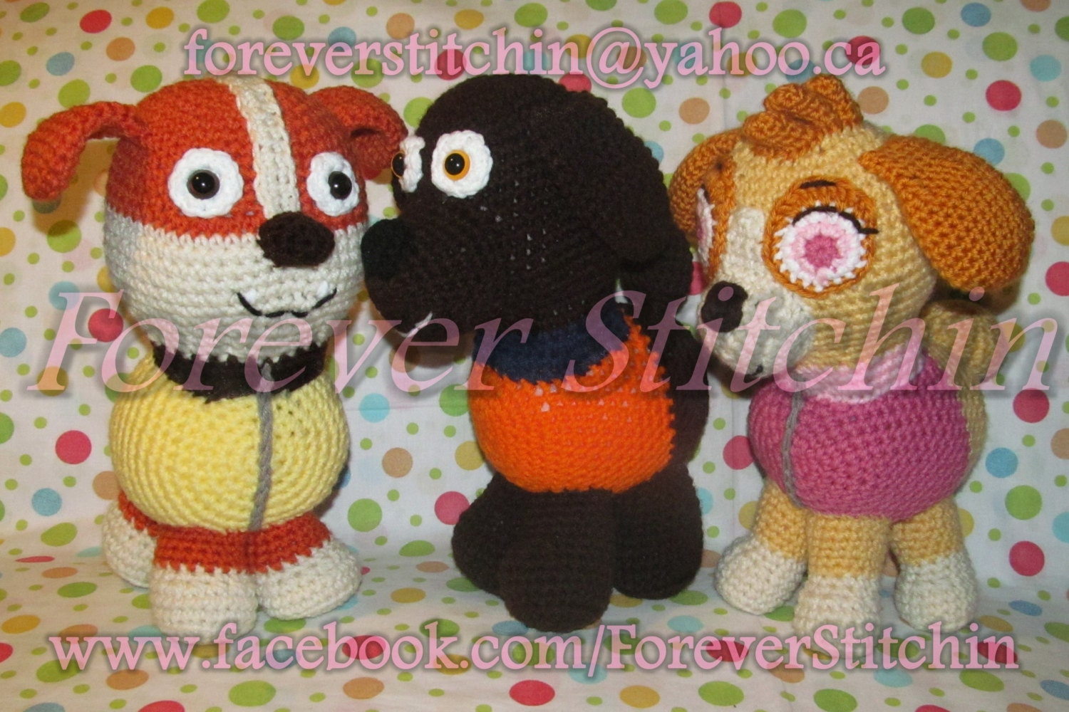 Crochet Patterns Paw Patrol : Paw Patrol 3 Pup Crochet Pattern Set by Forever Stitchin - Rubble ...