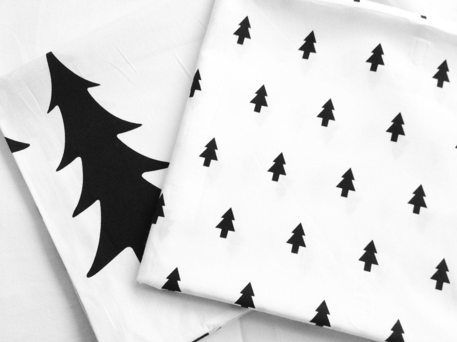 Simple Black and White Patterns Black Trees Cotton Fabric - Small Trees or Big Trees - Northern Europe Style - Christmas Fabric By the Yard - landofoh