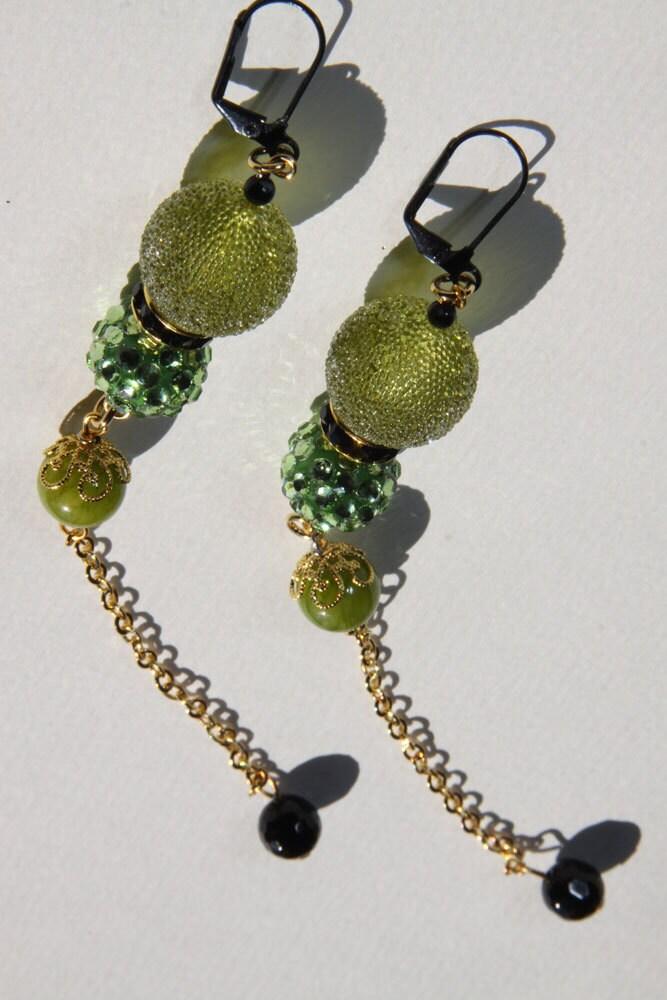 "6"" L Apple Green dangle, duster, earrings, green jade, resin, rhinestone, sugar bead"