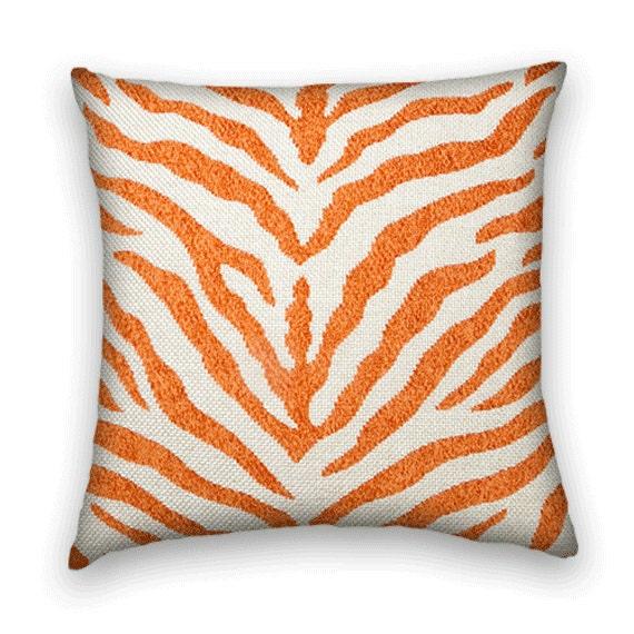 Orange Zebra Decorative Pillow Cover 18x18 by CodyandCooperDesigns