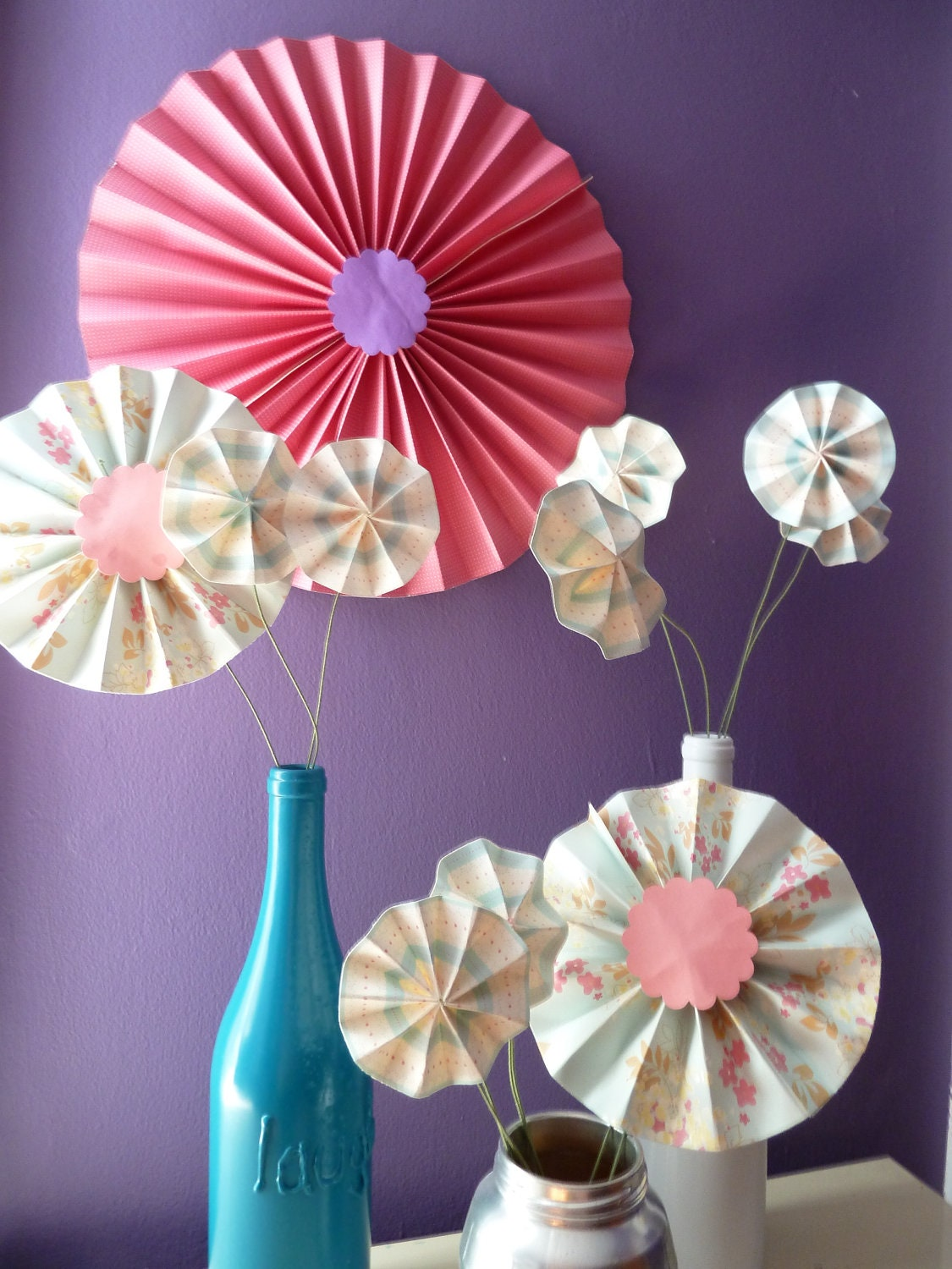 Items similar to accordion origami paper flower for Decoration origami