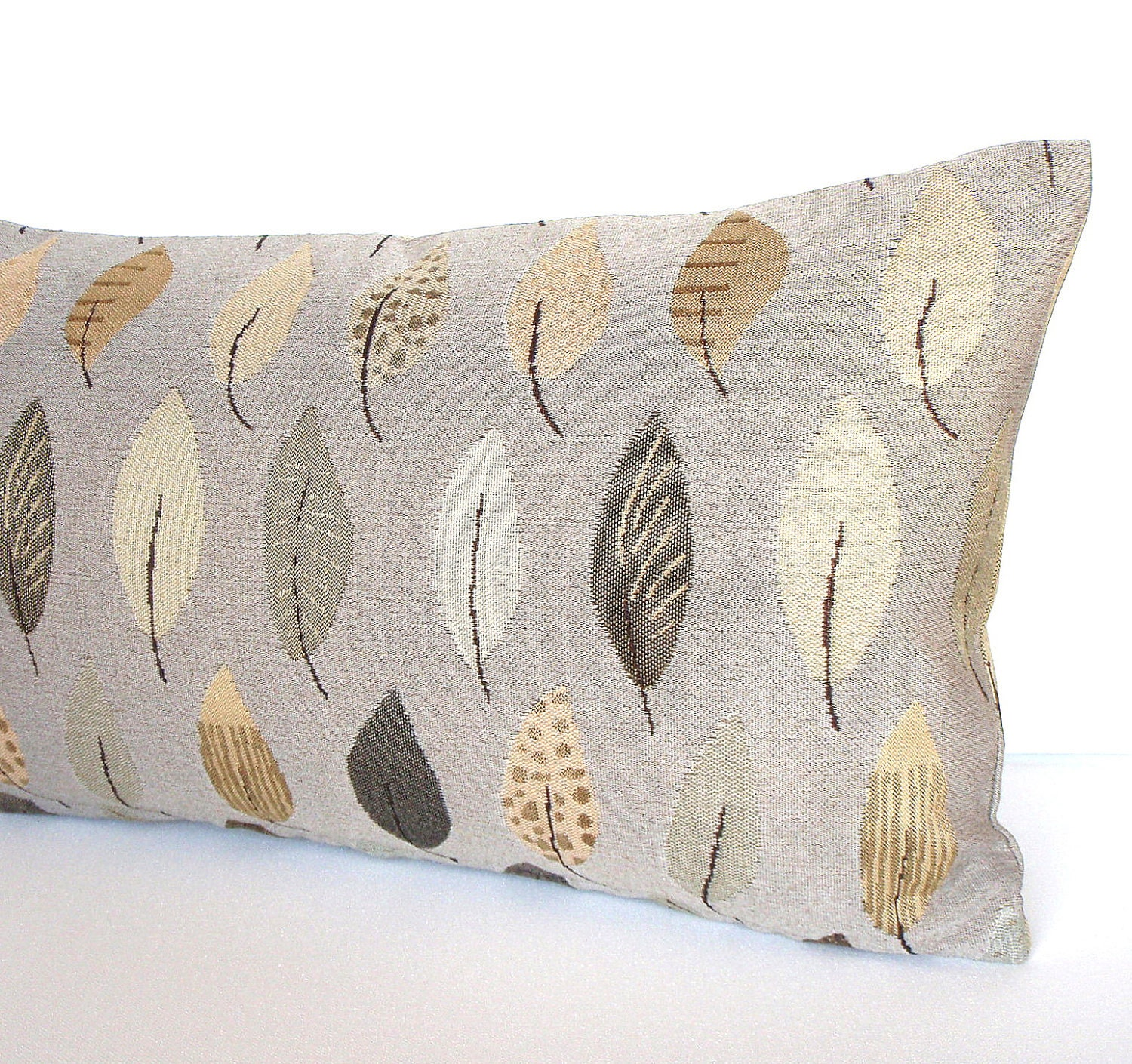 Grey Lumbar Pillow -12x21 - Contemporary Feather Leaf Grey and Gold - Decorative Throw Pillow Cover - couchdwellers
