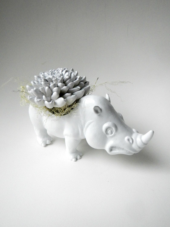 White Rhinoceros Planter - Mini Modern Art Centerpiece with Water Stone Flower - CoastalMoss