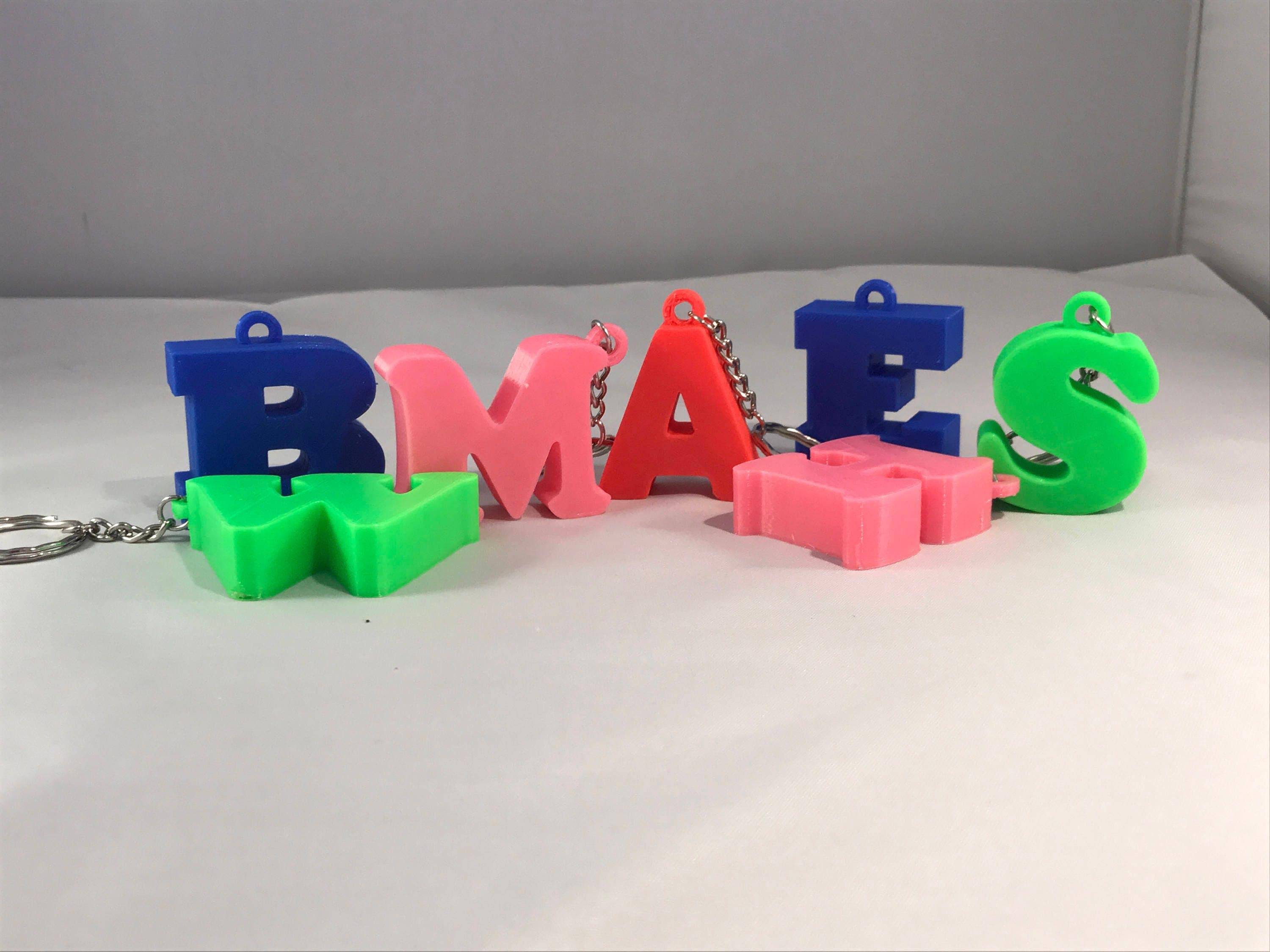 3D Printed Personalised Initial Lettering Keyrings  Keychains  children  adults  school bags  name tags  keys