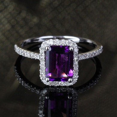 6x8mm Emerald Cut Amethyst 14k White Gold Pave .29ct Diamonds Halo Engagement Ring - ThisIsLOGR