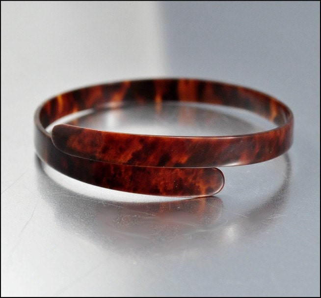 Victorian tortoise shell wrap bracelet bangle antique by for Real tortoise shell jewelry