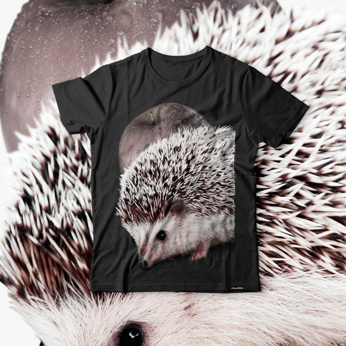 Hedgehog Apple Fun Cute Animal Men Black Tshirt S5XL NEW  Wellcoda