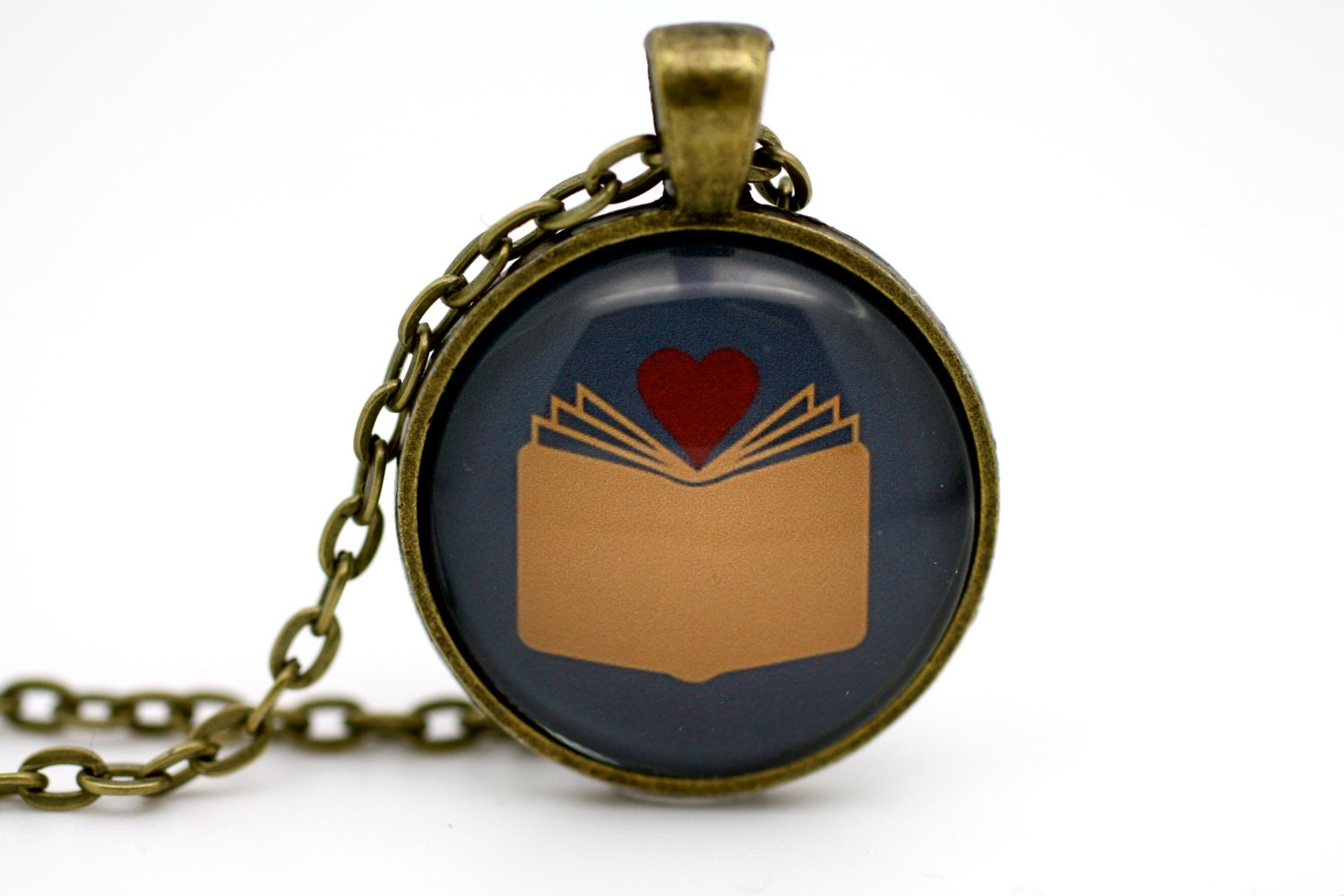 I Love Reading 'I Found My Love In A Book' Necklace in Blue
