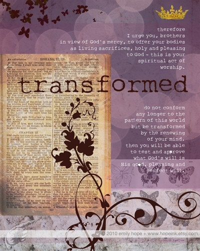 Transformed, Purple Butterfly Scripture Art Print, Romans 12 (8x10) - hopeink