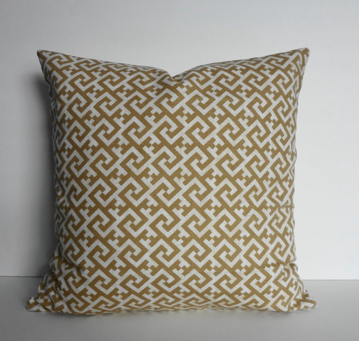 TAN Greek Key Decorative Pillow Cover Sand Cushion by pillows4fun