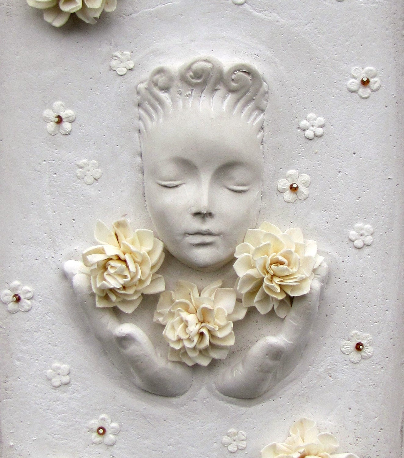 Mixed Media Flower Goddess Shadowbox Collage Assemblage - Studiomoonny