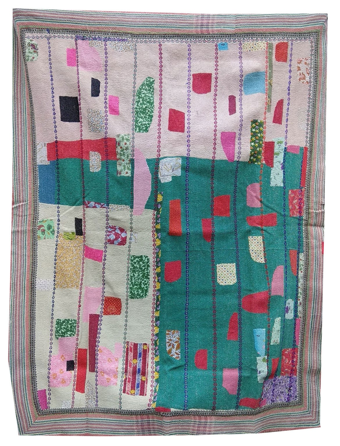 Vintage Kantha Embroidery WHITE  GREEN Reversible Quilt Kantha Bedspread Indian Blanket Kantha Throw Coverlet Decorative Throw