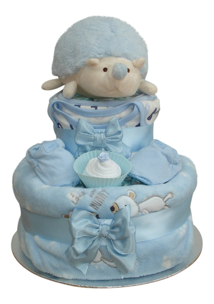 Harry Hedgehog Two Tier Blue Plush Nappy Cake Baby Boy  Baby Shower Gift
