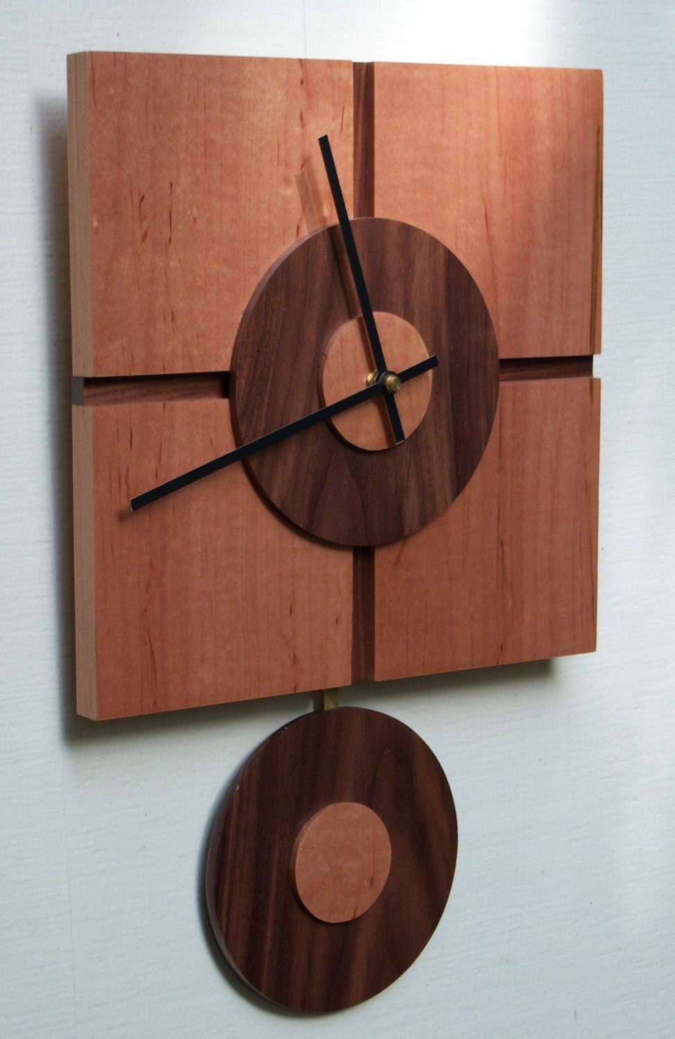 Modern square wall clock with pendulum by djwubs on etsy - Contemporary wall clocks with pendulum ...