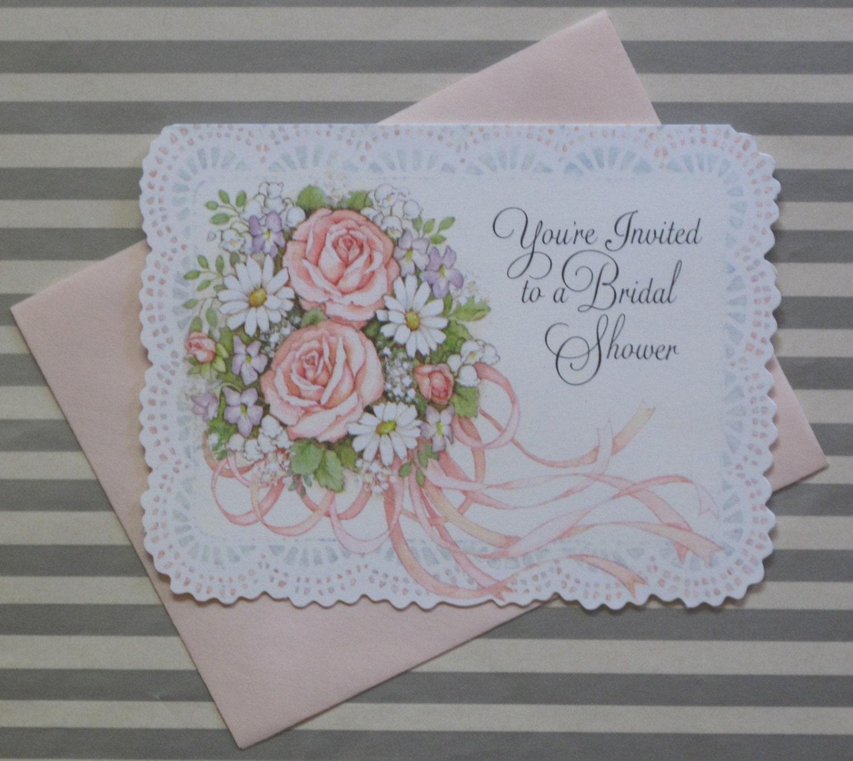 Wedding Gift Ideas Hallmark : Vintage Hallmark BRIDAL SHOWER Party Invitations NOSPretty Bouquet ...