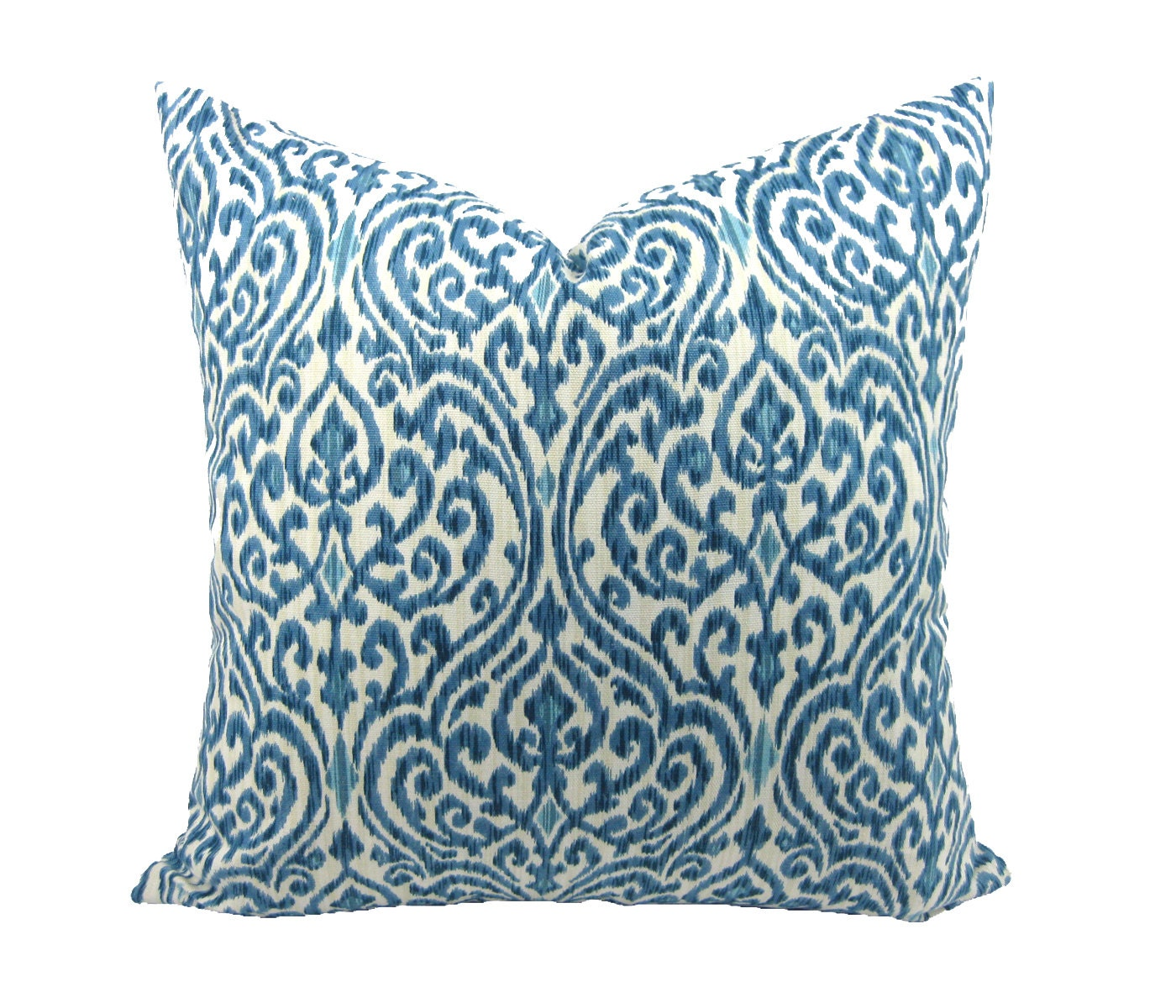 Decorator Pillow Cover, Ikat Pillow Cover, Toss Pillow Cover, Throw Pillow Cover, Cotton Pillow Cover, Hidden Zipper, 18 x 18 inches - TrellisHomeDecor