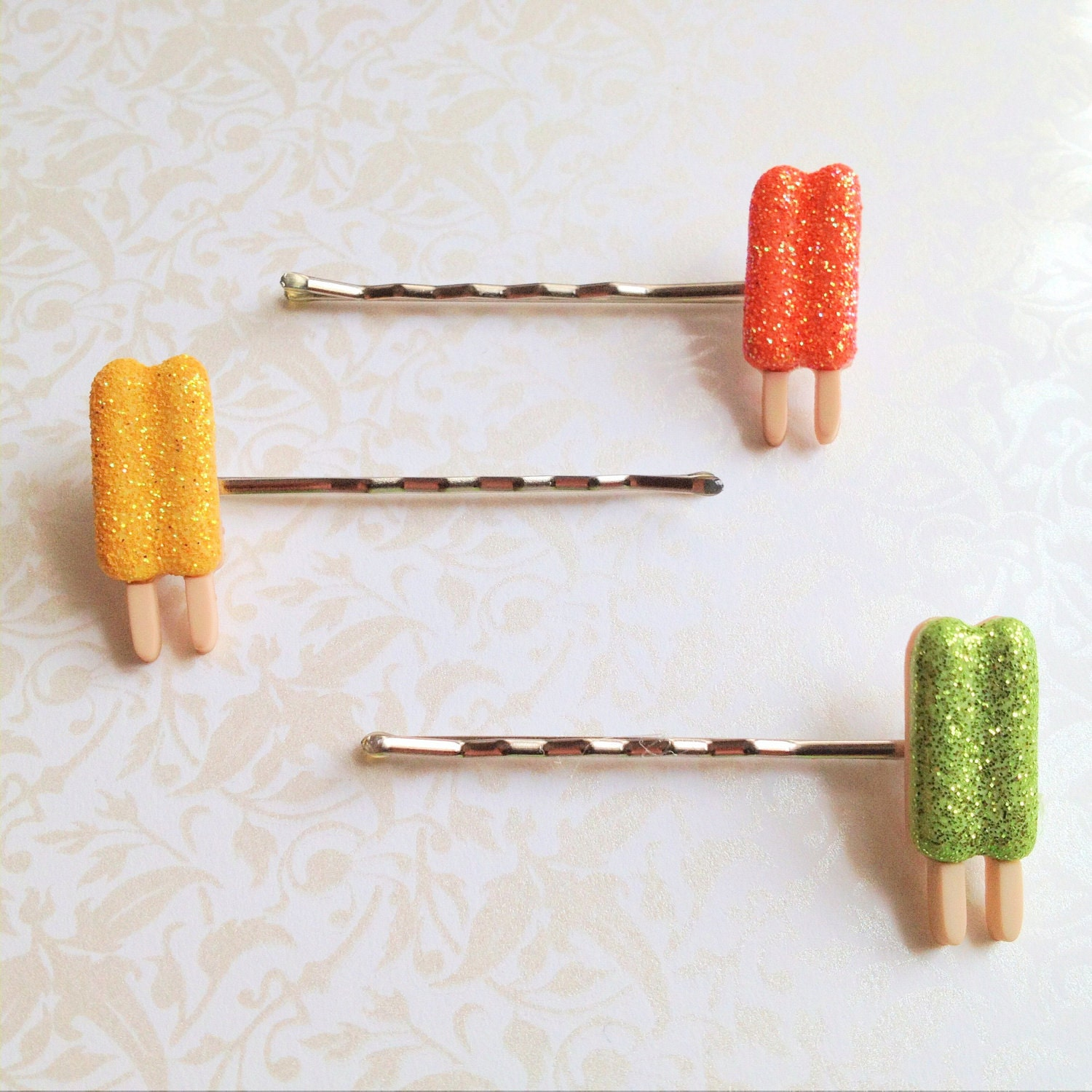 Glitter Popsicle Bobby Pins Set of Three- citrus colors, orange, green, yellow, silver tone bobbies, spring, summer, hair accessory, fun