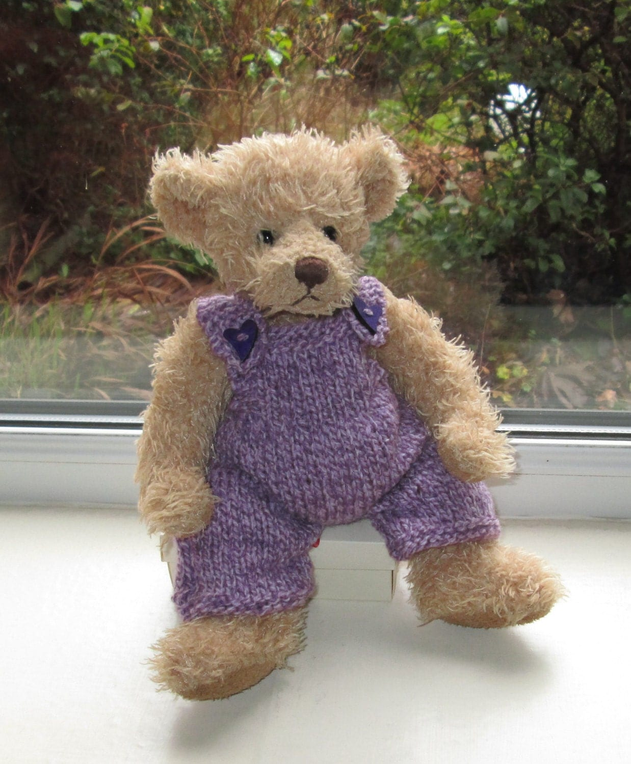 Teddy Bear Clothes Hand Knitted  Lilac Tweed Wooden Heart Dungarees to fit a 11 inch bear Dolls Clothes Toy Clothes Ready To ShipPost