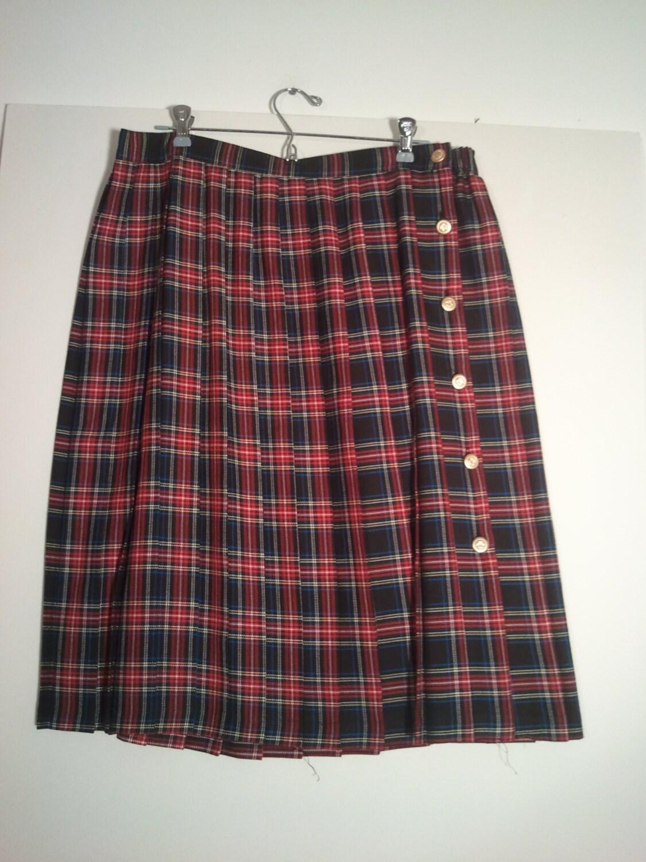 plaid pleated skirt tartan kilt boho by