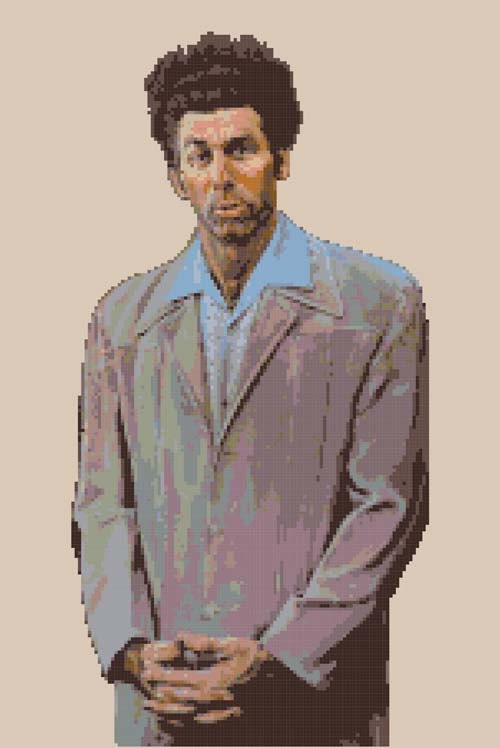 Items similar to Cosmo Kramer Painting - Cross Stitch ...