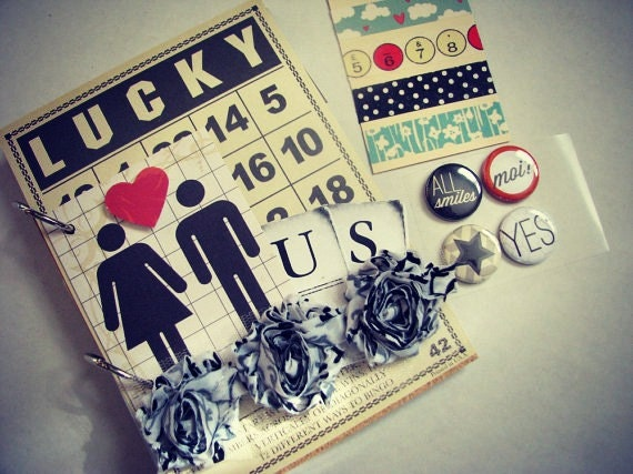 Lucky Us Mini Album plus Extra Embellishments, Scrapbook, Smashbook, Art Journal, Love, Family, Anniversary, Wedding, Everyday - artfulMdesigns