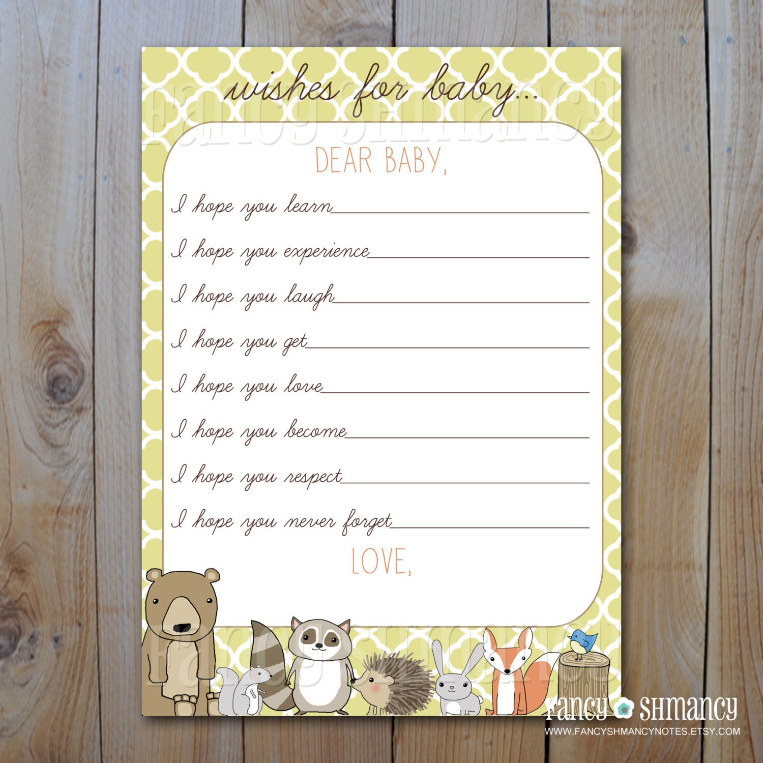 woodland animal baby shower wish card diy printable item 3546