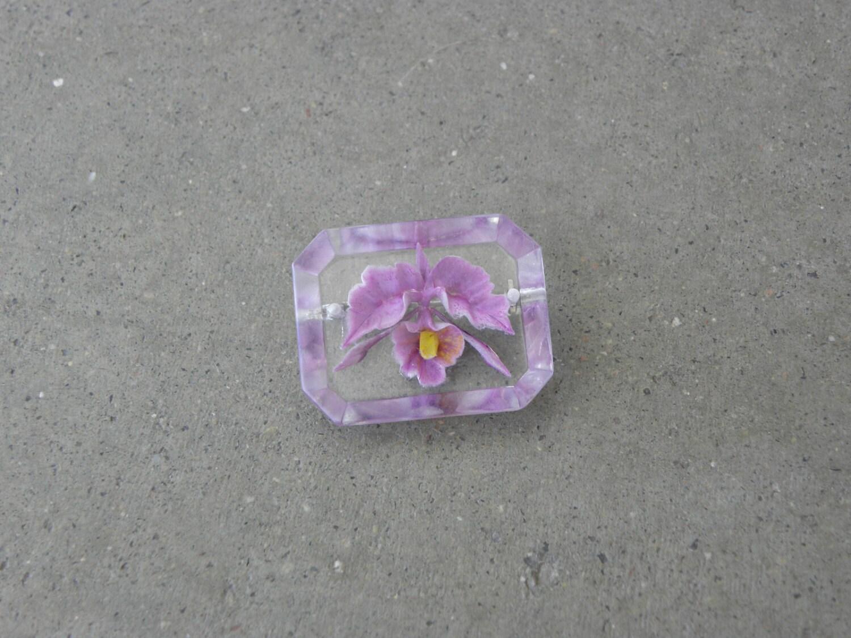 Vintage Lucite Purple Orchid Brooch - ArtsyFartsyFarm