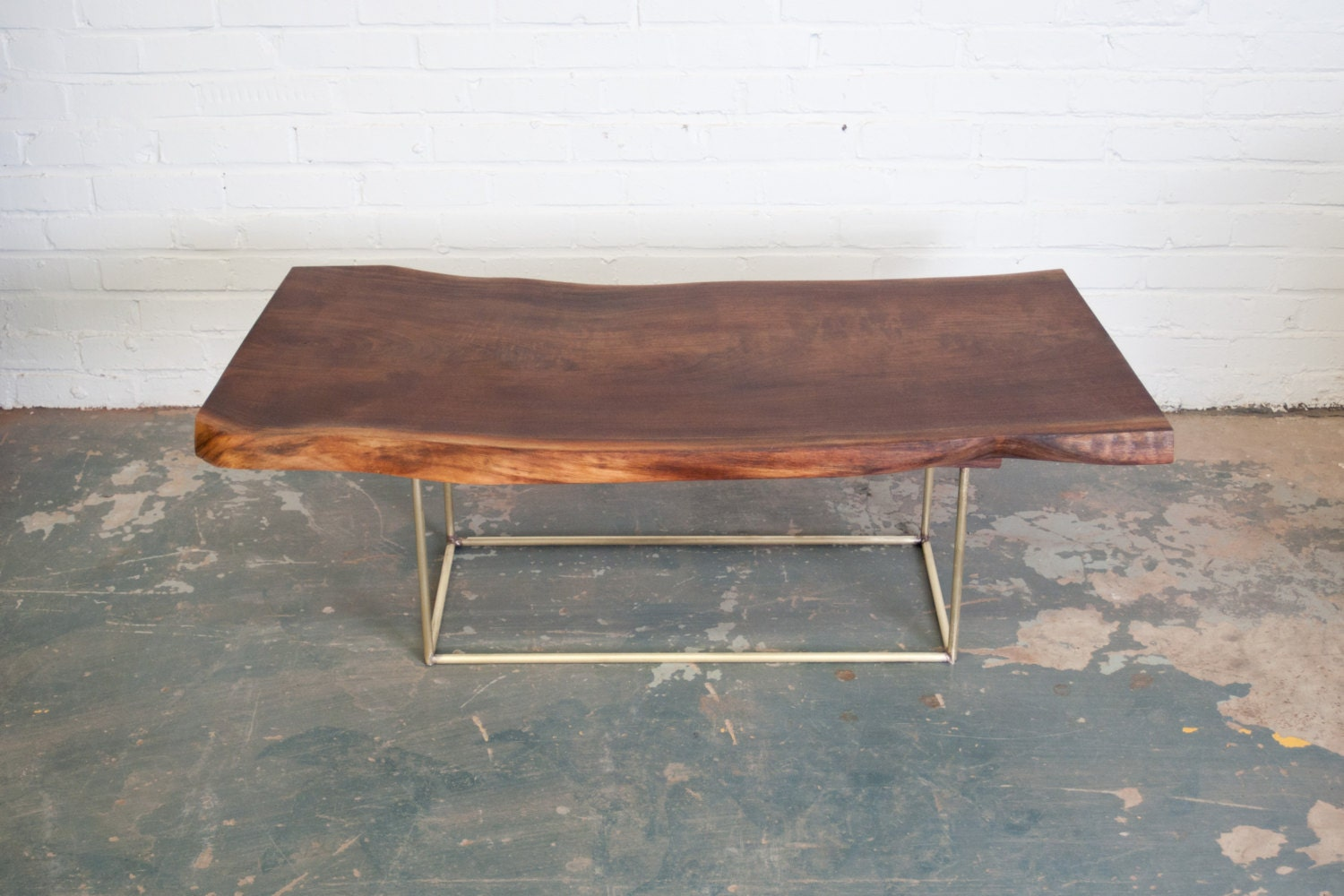 Items Similar To Coffee Table Live Egde Walnut Slab W Brass Base By Dylan Design Co On Etsy