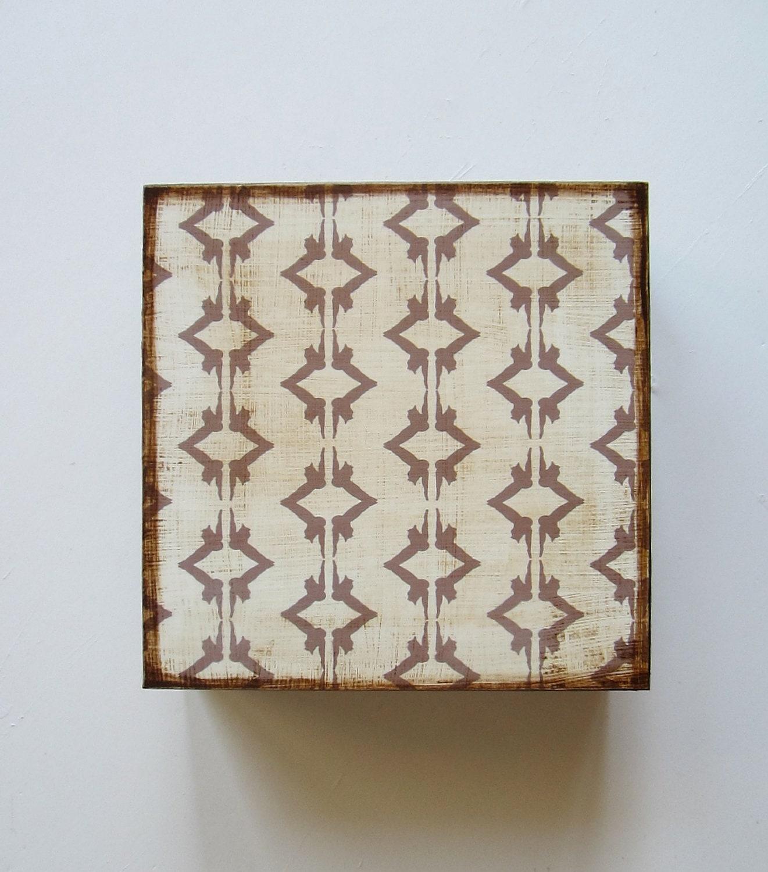 Rustic Art Block l Ikat Owl Greige l 5x5 wood block  forest woodland geometric gray redtilestudio - redtilestudio