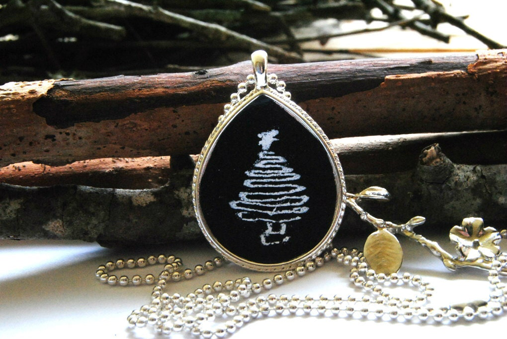 Mini Chalkboard Necklace with Cherry Blossom Charm