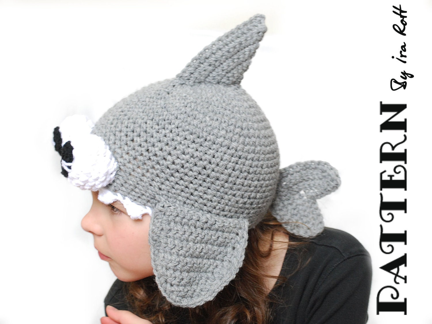 Crochet Pattern For A Shark Hat : CROCHET PATTERN Spike the Shark Hat with Googly by ...
