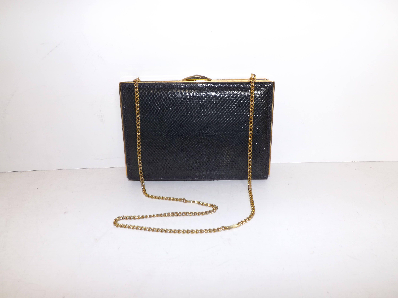 Vintage 1970s navy blue real snakeskin leather boxy box clutch handbag or shoulder bag chain strap