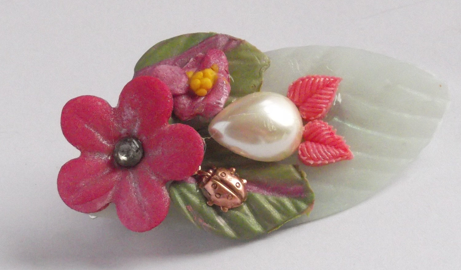 Butterflies and Ladybugs Pink Barrette - HowlingDogJewelry