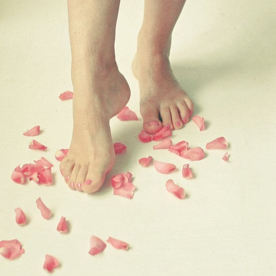 Tiptoe - Portrait photography, female figure, romantic art, rose petals, feminine decor, bedroom art - LolasRoom