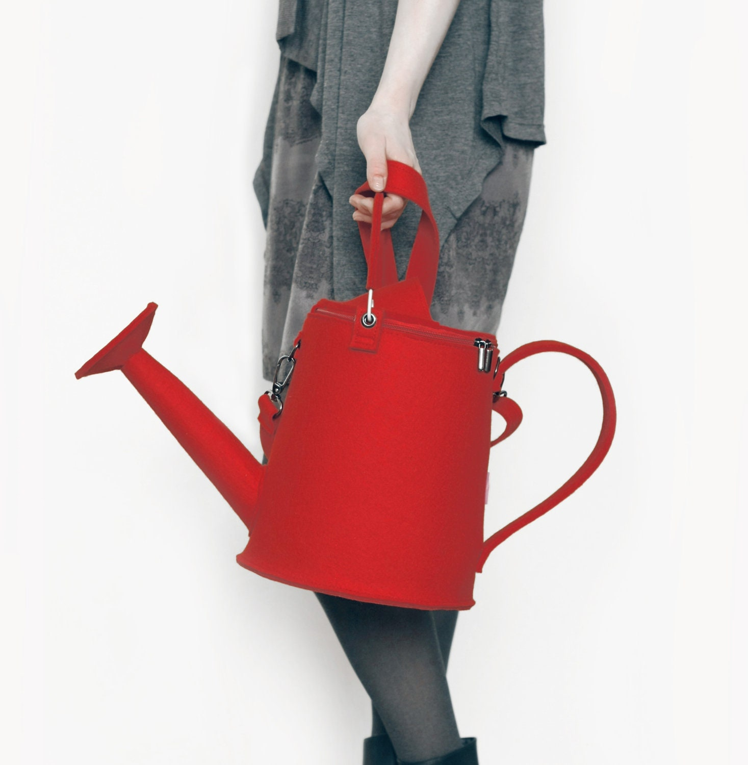 Red Felt Watering Can/ Watering Pot Bag