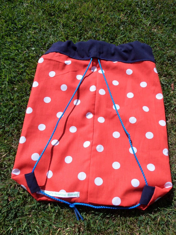 PE bag Gym bag School bag drawstring bag backpack polka dot red white navy kids