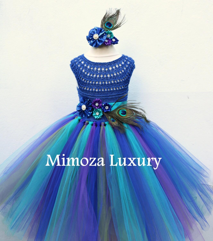 Peacock Royal Blue dress Peacock blue tutu dress Royal blue flower girl dress royal blue princess dress crochet top tulle dress pageant