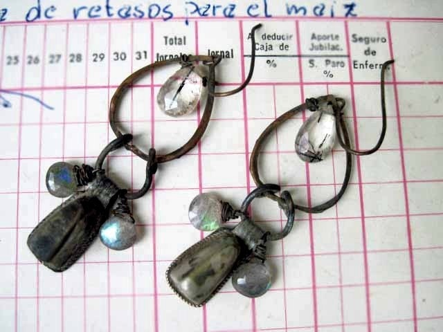Zanzibar. Gemstone Assemblage Gypsy Dangles with Labradorite.
