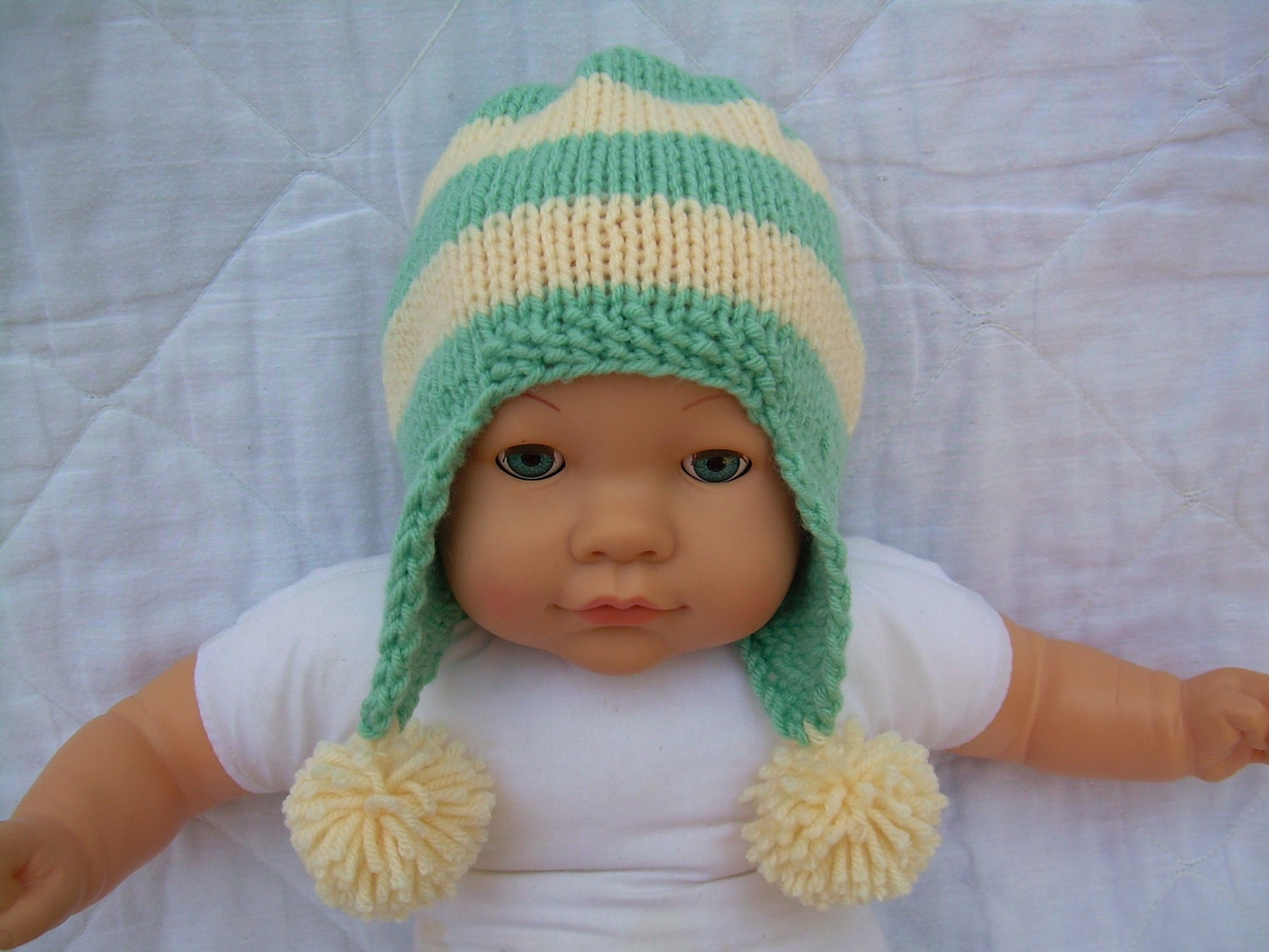 Knit Baby Beanie Hat with Ear Flaps and Pom Poms 0 by Jadescloset