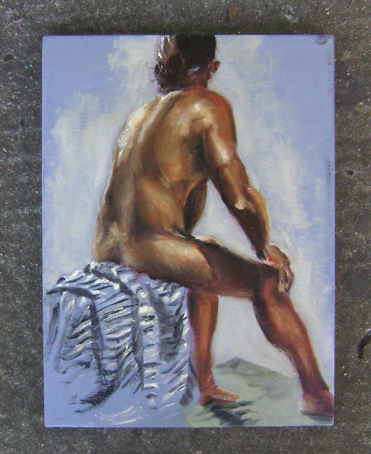 Seated nude model original painting Mature. From MinimumWageFaeries