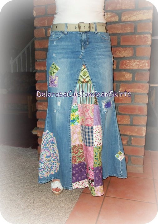 classic hippie patchwork jean skirt by customjeanskirts