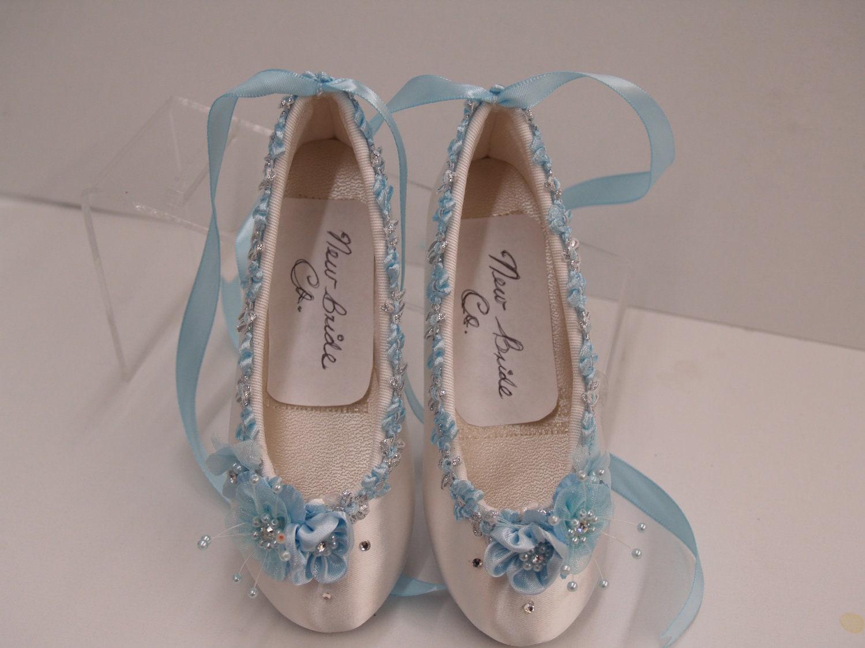 Wedding Shoes Flower-Girls Ballerina Slipper Blue By ...