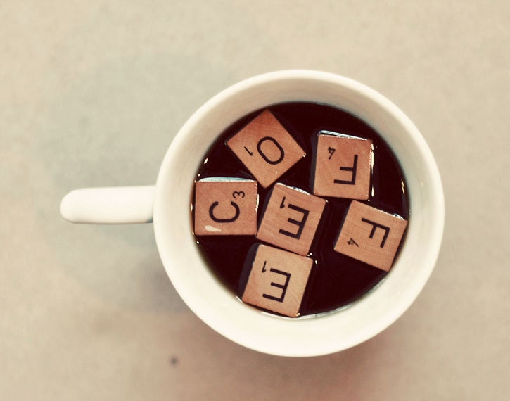 Still Life Coffee Photograph, Scrabble Tiles, 5x7 Print, Art for the Kitchen, Neutral Colors, Cream, Brown - birdandbloke