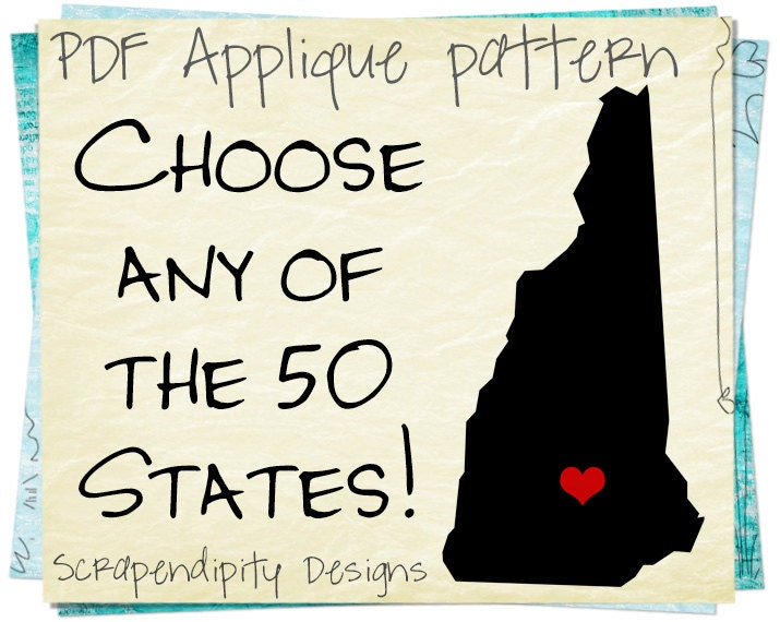 State Applique Template - New Hampshire Applique Pattern / Texas Shirt ...