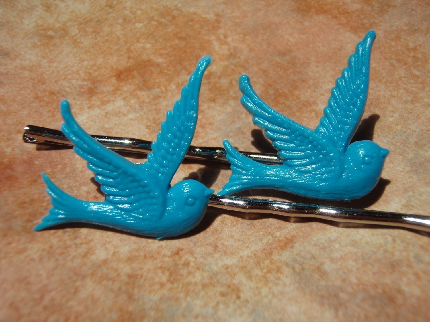 TWEET TWEET Turquoise Blue Swallow Bird Hair Bobby Pins - - Gift Packaged