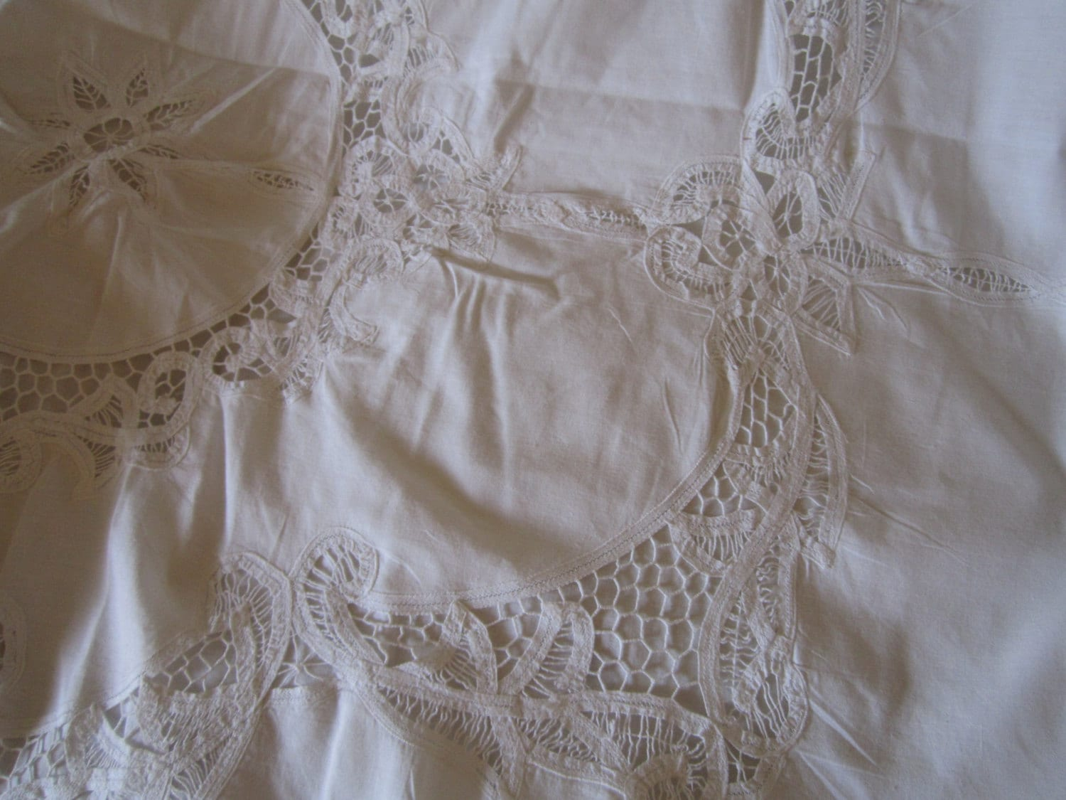 Reserved For Rita White Battenburg Lace Cotton By Chicknhawk