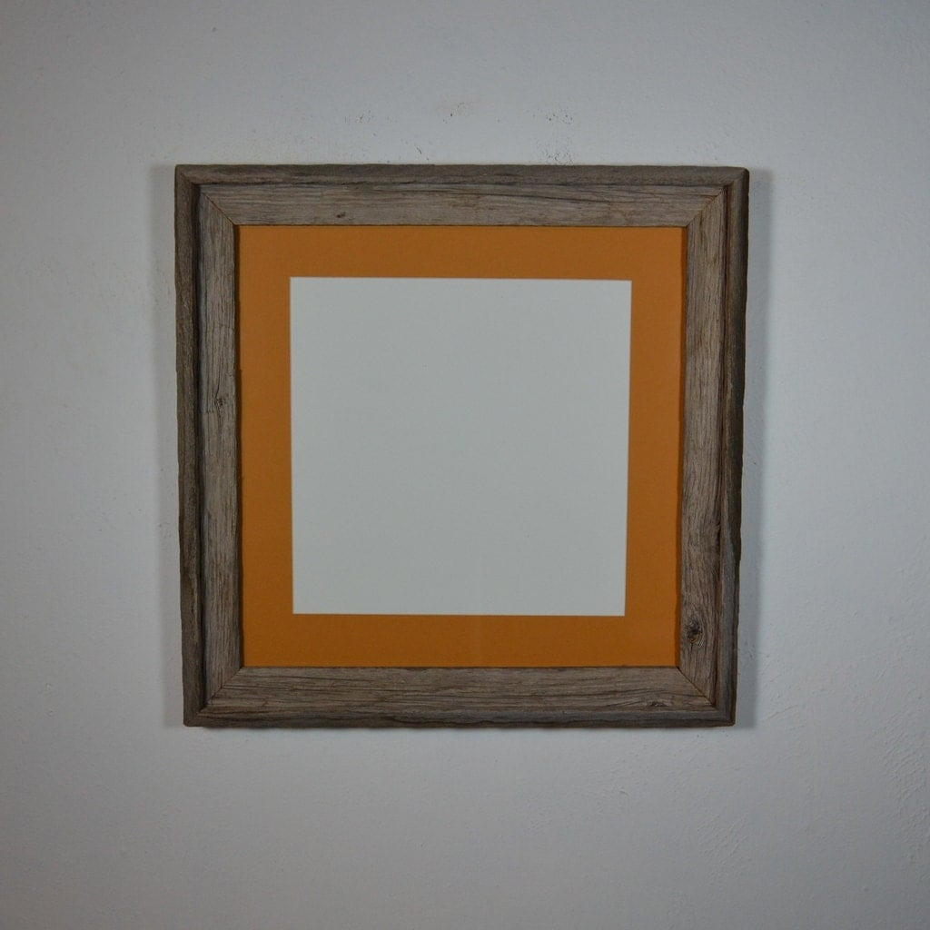 Repurposed Wood Frame 16x16 With 12x12 Dark Yellow By