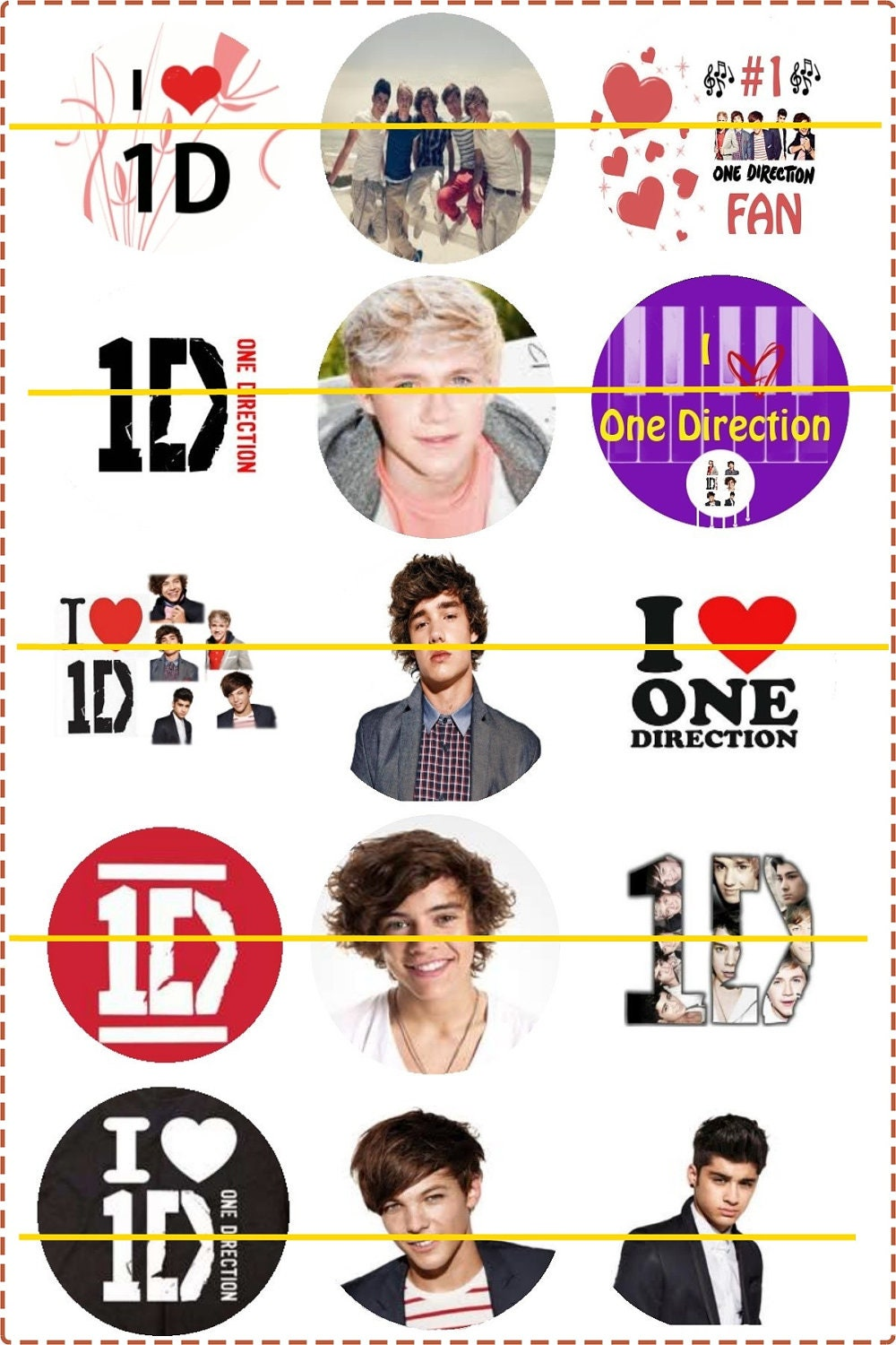 Pre-Cut One-Inch Circle ONE DIRECTION Images