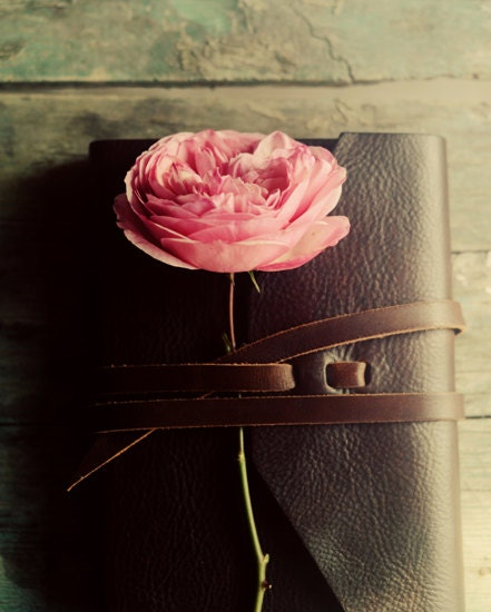 Flower and journal photograph- rose, golden, pink, romantic, fall, love, still life, brown, rustic, leather journal, floral, fine art photo - dullbluelight