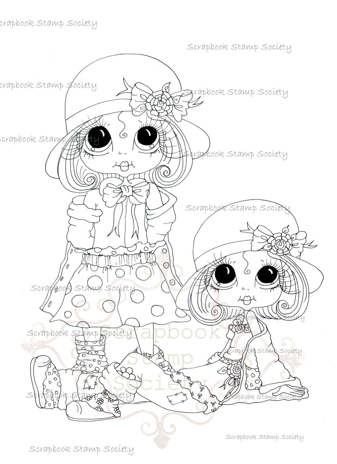 INSTANT DOWNLOAD Digital Digi Stamps Big Eyed Derby Duo Besties Big Head Dolls Digi By Sherri Baldy